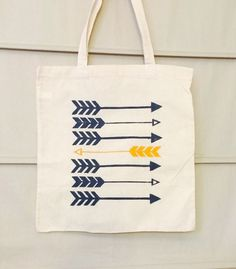 Canvas tote bag with yellow and grey arrows. FSU by GuysDontGetIt