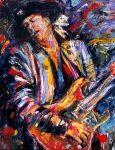 Debra Hurd painting Stevie Ray Vaughan playin' live