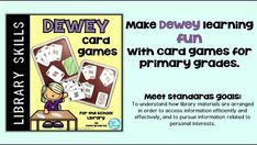 Make Dewey Decimal System learning fun in your school library with this assortment of card games for kindergarten, and grade students. Great center activities for your kids. Kindergarten Library, Kindergarten Games, Elementary Library, Kids Library, Library Ideas, Library Skills, Library Lessons, Teacher Librarian, Math Teacher