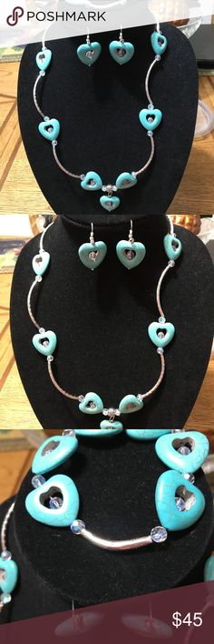 Set of Turquoise Heart, Silver tubes and Crystal Set of  Turquoise Heart and Silver Tubes with Crystal clear Faceted. Hand made never used Angel's Creation By Zayda Jewelry
