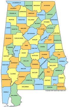 Map Of Alabama Counties | You may use the above map of Alabama Counties on your website using ...