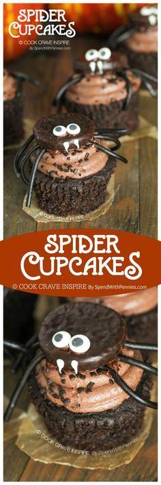 Halloween Spider cupcakes Find more Halloween cupcakes at   - how to decorate cupcakes for halloween