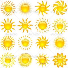 Sun Icons ...  abstract, background, holiday, hot, icon, object, season, summer, sun, sunburst, sunny, suns, symbol, tropical, vector