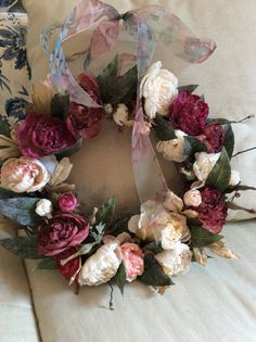 May Garden Peony Wreath by TheColonialDoorstep on Etsy