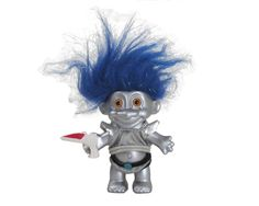 """Vintage Russ Troll Doll Blue and Metallic Hair Alien with Ray Gun 4"""" by WhatnotGems on Etsy"""