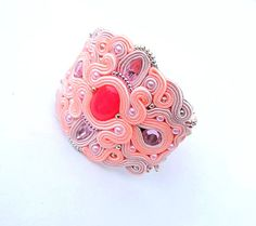 Statement Bracelet Cuff Soutache Cuff with Pink and Salmon Beads Statement Embroidered Bracelet