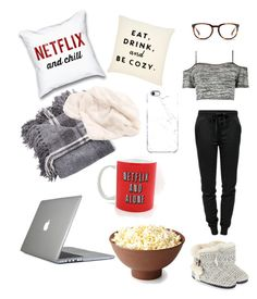 """""""Netflix and chill ALONE"""" by charis75-1 ❤ liked on Polyvore featuring Linda Farrow, Boohoo, Uncommon, Speck, T By Alexander Wang and Accessorize"""