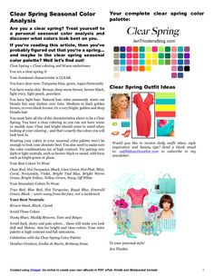 Clear spring seasonal color analysis. I need to clean my closet out and use this chart!