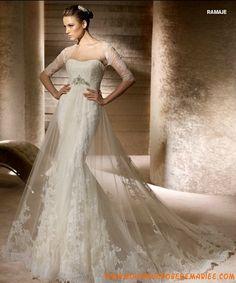 Robe de mariée sirène tulle dentelle avec boléro