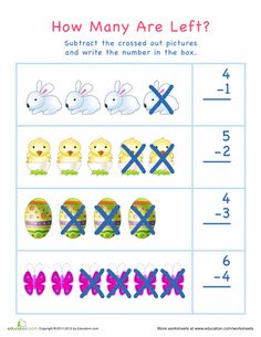 Help your kid practice subtraction and counting skills with this Easter math worksheet. This Easter-themed worksheet is perfect for visual learners especially. Easter Worksheets, School Worksheets, Kindergarten Worksheets, Seasons Worksheets, Subtraction Kindergarten, Addition And Subtraction Worksheets, April Preschool, Math Sheets, Basic Math