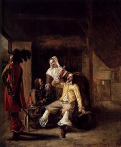 Two Soldiers and a Serving Woman with a Trumpeter, 1655 - Pieter de Hooch