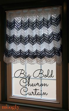 The Big Bold Chevron Curtain is the perfect crochet curtain pattern for the bath, bedroom, kitchen, living room - any room of the house!