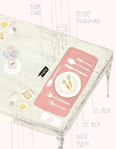 table setting illustration by amy borrell. #tablesetting #illustration