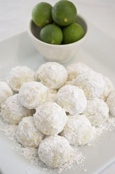 Key Lime Cooler Cookies Recipe: Light and buttery, with the refreshing flavor of key lime. they're just divine! - The kids LOVED these. They called them snowball cookies. Key Lime Desserts, Cookie Desserts, Cookie Recipes, Dessert Recipes, Lemon Desserts, Snowball Cookies, Crinkle Cookies, Yummy Cookies, Lemon Cookies