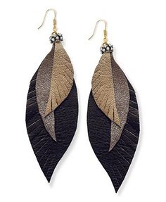 Ali Khan Earrings, Gold Tone Leather Feather Earrings