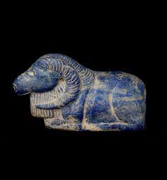 Sumerian Lapis Lazuli Sculpture of a Ram. Circa 3000 BC to 2000 BC.