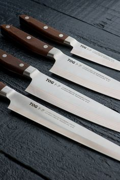 Set of four TOG Chef Knives 'PETTY', 'SANTOKU', 'GYUTO' & 'SUJIHIKI' - These are Japanese Steel, very sharp extraordinary kitchen knives.