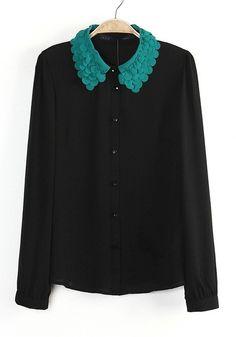 Lovely detail on this collar | Black Blouse