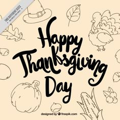 Vintage greeting thanksgiving background with sketches Free Vector