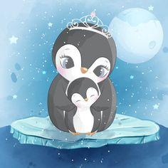 Cute raccoon mother and baby Boat Cartoon, Cute Cartoon, Baby Animal Drawings, Cute Drawings, Baby Animals, Cute Animals, Penguin Drawing, Cute Llama, Baby Clip Art