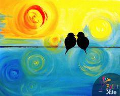 Paint Nite - Swirly Birds on a Wire