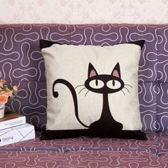 free shipping, $9.69/piece:buy wholesale  vintage printed pillow case style cute black cat cushion cotton linen cover square 45x45cm plain,polyester / cotton,printed on oncebright's Store from DHgate.com, get worldwide delivery and buyer protection service.