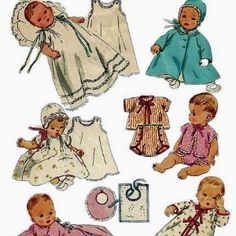 $50-100 US infant layette in cotton, linen or silk, with or without embroidery. Sizes 3-9 months. Original: vintage layette sewing pattern.