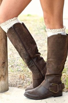 Kodiak Horsebit Rider Boots (Brown) love the cuffs too!!