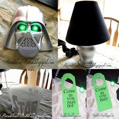 Star Wars door hanger, lamp, waste basket, & old Halloween Darth Vader mask turned glowing night light