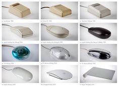L'evoluzione del mouse Apple, da Lisa (1983) all'attuale TrackPad.
