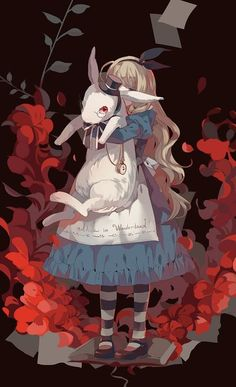 Alice in Wonderland and white rabbit - Whimsical art <3 #Alice.