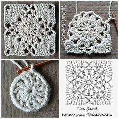 Diy Crafts - -Sunset Flower Square Motif Crochet Beautiful romantic squares to create new, brilliant projects. Crochet Collar Pattern, Crochet Motifs, Granny Square Crochet Pattern, Crochet Flower Patterns, Crochet Diagram, Crochet Stitches Patterns, Crochet Chart, Crochet Squares, Filet Crochet