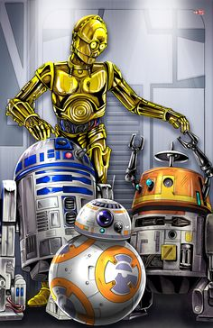 Chequen este increíble arte en ilustración, de las páginas de Devianart. Rebel Droids Assemble! (C3PO, R2-D2, BB-8, Chopper (C1-10P)) | By: TyrineCarver (via DeviantArt) | #starwars #starwarsfanart #starwarsdroids
