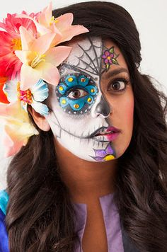 DIY - Día de los Muertos Make-up ideas Halloween Sugar Skull, Halloween Make Up, Halloween Face Makeup, Halloween Ideas, Monster High, Day Of The Dead Party, Fantasy Make Up, Maquillaje Halloween, Skull Makeup