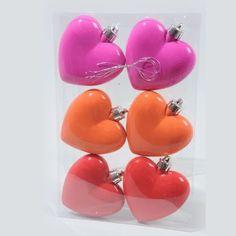 Lot de 6 cœurs en plastique CANDY - Sujets à suspendre : Izaneo.com