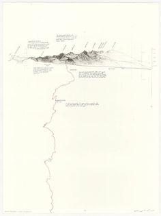 Across the Sierra - Linear Progression by Matthew Rangel Landscape Engineer, Landscape Model, Landscape Drawings, Architecture Graphics, Architecture Drawings, Landscape Architecture, Map Diagram, Presentation Board Design, Urban Analysis