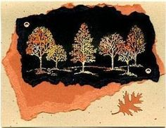 Stampin' Up! Lovely As a Tree ... handmade card ... Autumn colors ... torn paper background attached with eyelits ... like the use of Heat & Stick embossing powder to add foiling to the trees ... like it!