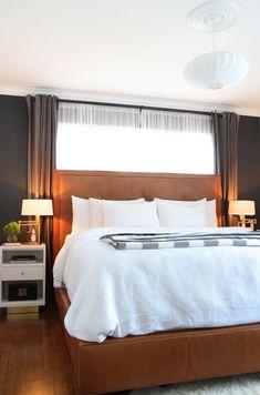 Bedroom Window Behind Bed Interior Design 25 Ideas Bed Against Window, Window Behind Bed, Curtains Behind Bed, Window Bed, Guest Bedrooms, Girls Bedroom, Master Bedrooms, Master Room, Bedroom Black