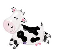 """Cow Balloon 30""""x28"""" Large Barnyard Party Helium Air Mylar Black Brown Cow Farm Party by PartyHaus on Etsy (null)"""