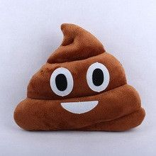 Emoji Poop Poo Emoticon Yellow Round Pillow