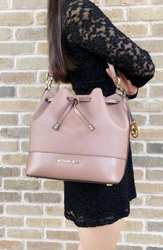 0a8cbe43cd05 Michael Kors Trista Medium Bucket Bag Dusty Rose Saffiano Leather