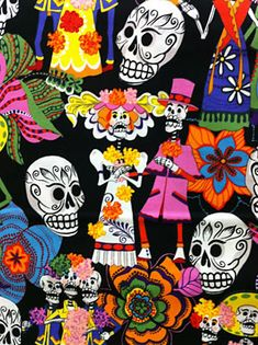 FABULOUS site for sugar skull fabric!!!  I loved them all!!  Day of the Dead Celebration fabric on black