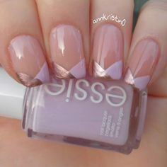Cherry Blossom/Rosé Gold Chevron French Tips nail art by Ann-Kristin