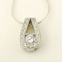 Diamond Slide Pendant in 14k White Gold