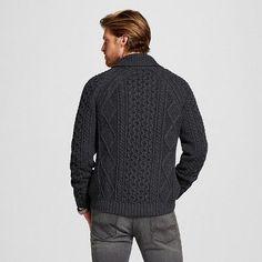 Men's Cable Knit Cardigan Gray XXLarge - Merona, Size: Xxl