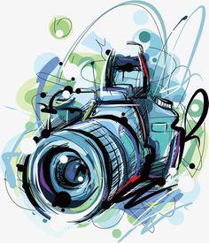 vector camera, Camera Clipart, Cartoon, Hand Painted PNG and Vector Camera Painting, Camera Drawing, Camera Logo, Camera Art, Slr Camera, Graffiti, Photo Png, Camera Cartoon, Photo Bleu