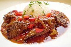 Vepřová játra s kapií Stew, Menu, Food, Kochen, Menu Board Design, Meal, Essen, Hoods, Meals