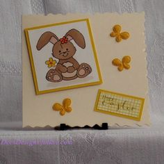 Handmade Easter Card, Bunny with Butterflies