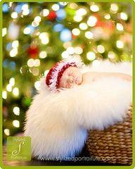 newborn christmas photo and bokeh