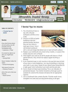 Example email newsletter for a dentist.